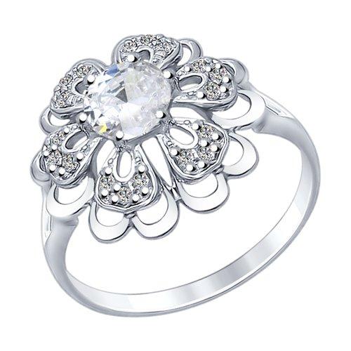 Кольцо из серебра с горным хрусталем и фианитами (92011383) - фото