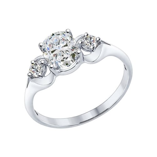 Кольцо из серебра с фианитами (94012228) - фото