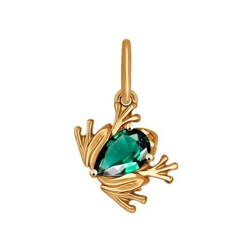 Подвеска SOKOLOV из золота «Лягушка» с зелёным фианитом подвеска декоративная green apple grhp4 08 лягушка