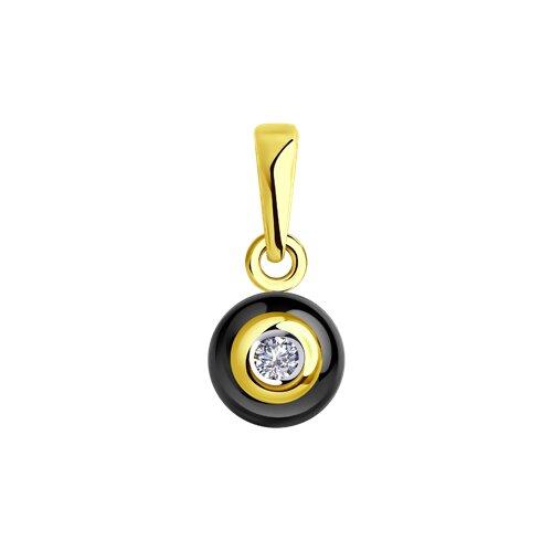 Подвеска из золота с бриллиантом и чёрной керамикой