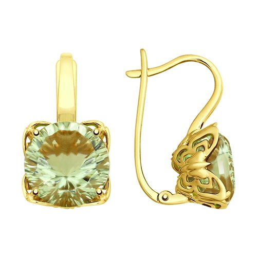 Серьги из желтого золота с аметистами