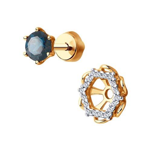 Серьги из золота с синими топазами и фианитами (726098) - фото №2
