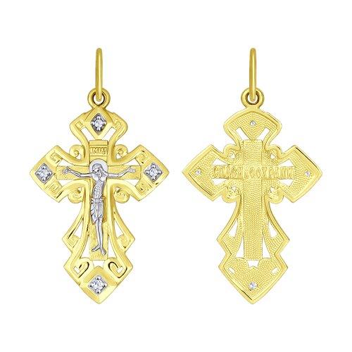 Подвеска- крест из желтого золота с фианитами
