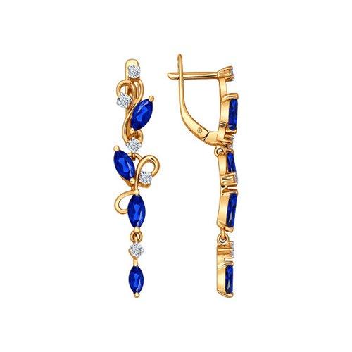 Серьги длинные из золота с бриллиантами и сапфирами (2020534) - фото