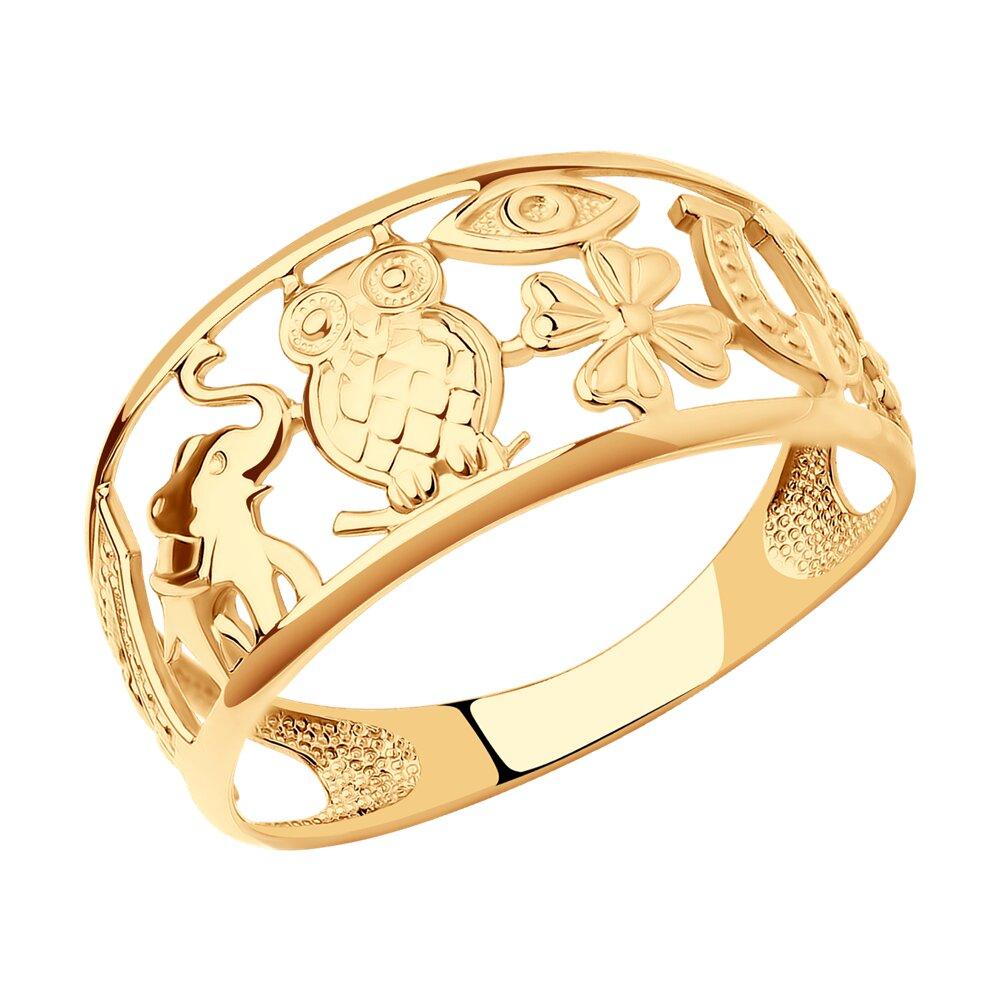 Золотое кольцо-оберег SOKOLOV