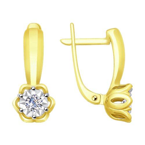 Серьги из комбинированного золота с алмазной гранью с бриллиантами (1021221-2) - фото