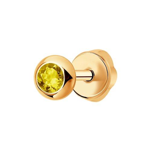 Серьга-пусета из золота с жёлтым сапфиром (2170002) - фото