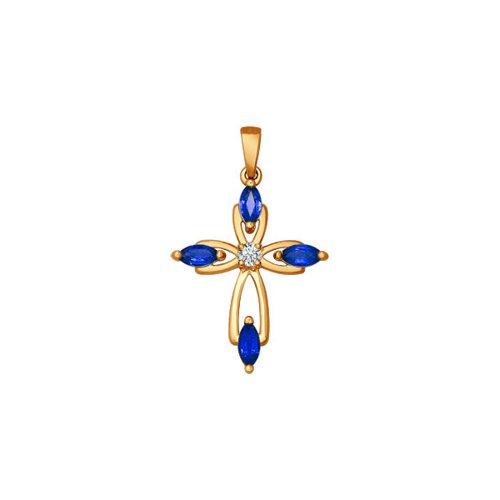 Женский крестик c бриллиантом и сапфирами