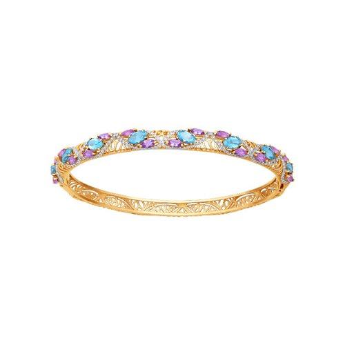 Жесткий золотой браслет с миксом камней