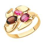 Кольцо из золота с миксом камней