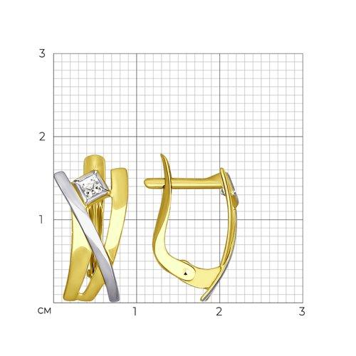 Серьги из желтого золота с фианитами 027252-2 SOKOLOV фото 2
