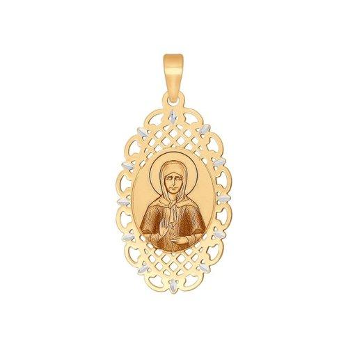 Золотая иконка с ликом Матроны Московской SOKOLOV золотая иконка
