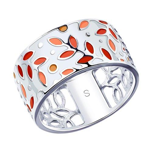 Кольцо из серебра с эмалью  (94012933) - фото