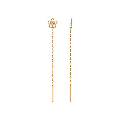 Серьги-цепочки с цветком цена