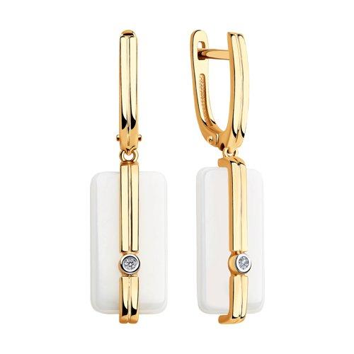Серьги из золота с бриллиантами и белой керамикой (6025098) - фото №2
