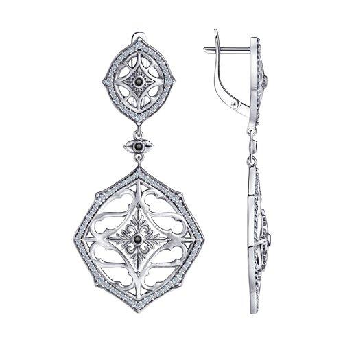 Серьги из серебра с фианитами (95020059) - фото