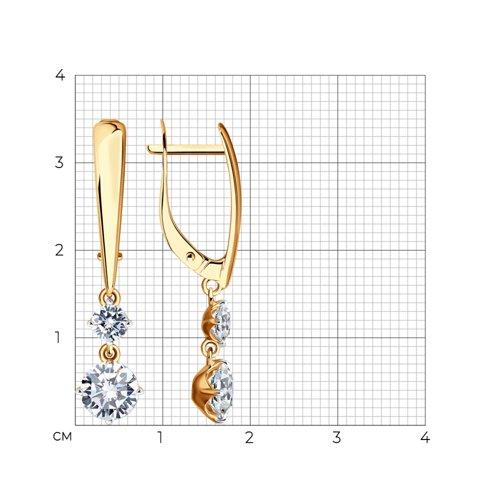 Серьги из золота с фианитами (027003) - фото №2