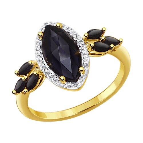 Кольцо из желтого золота с миксом камней (714261-2) - фото