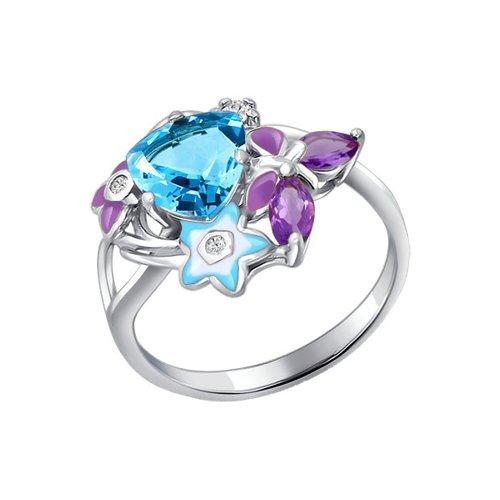 Кольцо из серебра с эмалью с миксом камней
