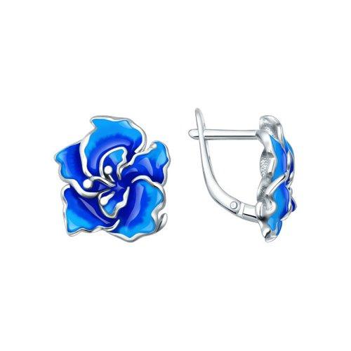 цена на Серебряные серьги с голубой эмалью SOKOLOV