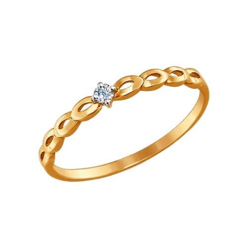 Кольцо из золота с фианитом (017322) - фото