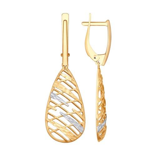 Серьги из золота с алмазной гранью (028059) - фото