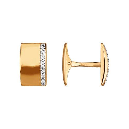 Золотые запонки с дорожкой фианитов