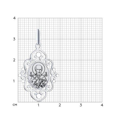 Серебряная иконка «Святитель архиепископ Николай Чудотворец» (94100257) - фото №2