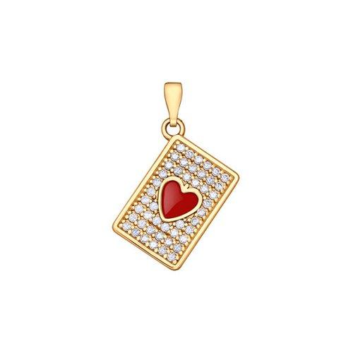 Подвеска SOKOLOV из золота с эмалью с фианитами подвеска с 1 эмалью из красного золота