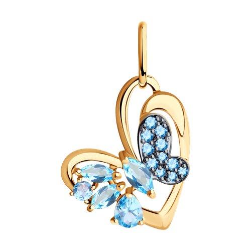 Подвеска из золота с голубыми топазами и голубыми фианитами