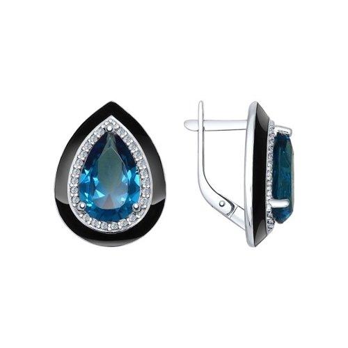 Серьги из серебра с эмалью с синими ситаллами и фианитами