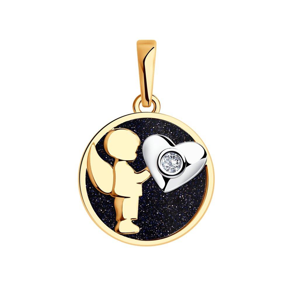 Подвеска «Ангел» SOKOLOV из золота с авантюрином и бриллиантом