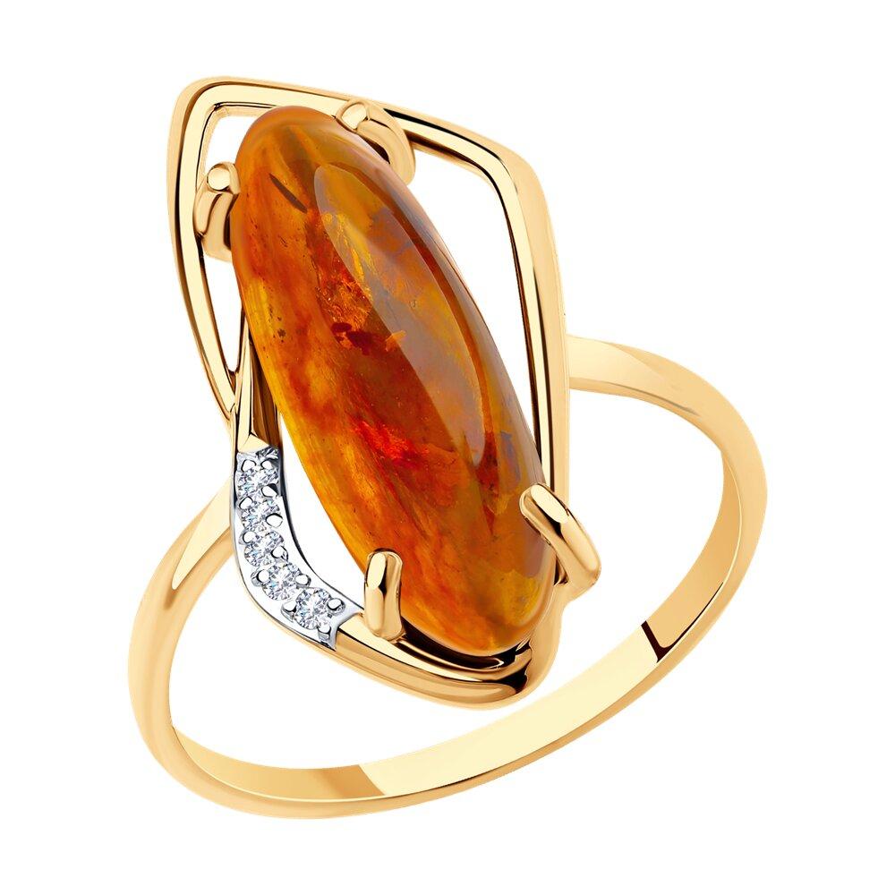 Кольцо SOKOLOV из золота с янтарём и фианитами