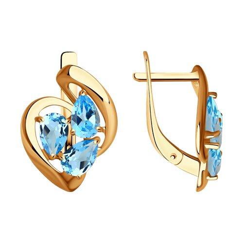 Серьги из золота с голубыми топазами