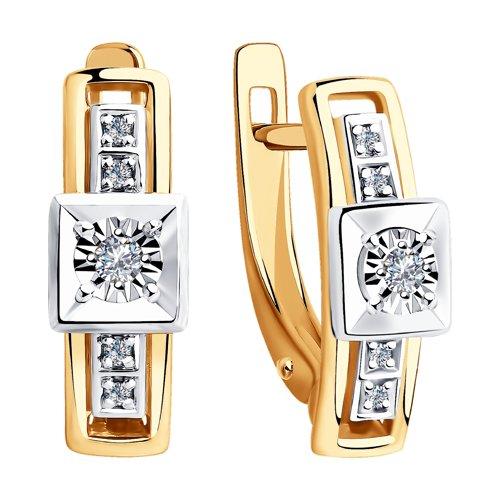 Серьги из комбинированного золота с бриллиантами (1021334) - фото №2