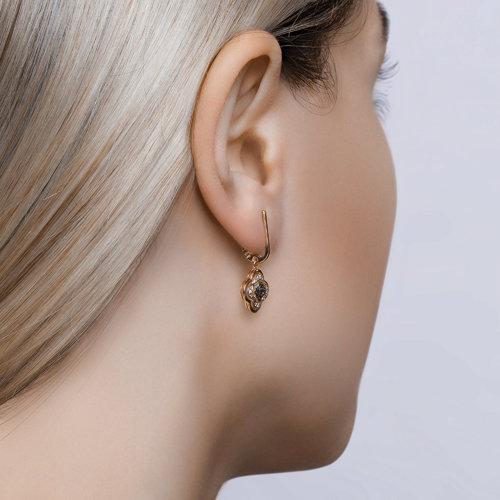 Серьги из золота с бесцветными и чёрными бриллиантами 7020057 SOKOLOV фото 5