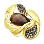 Кольцо из желтого золота с раухтопазом и