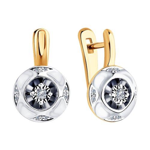 Серьги из комбинированного золота с бриллиантами 1021324 SOKOLOV фото 3