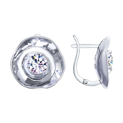 Серьги из серебра с фианитами (8-94020001) - фото