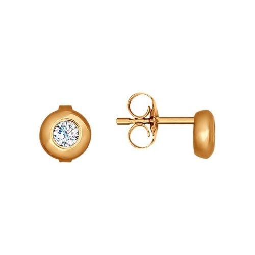 Серьги-пусеты из золота с фианитами (027170) - фото