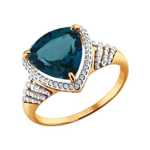 Золотое кольцо с топазом London blue и фианитами SOKOLOV золотое кольцо ювелирное изделие k 11013