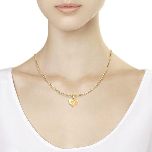 Золотая подвеска «Ангел» с бриллиантом (1030648) - фото №3