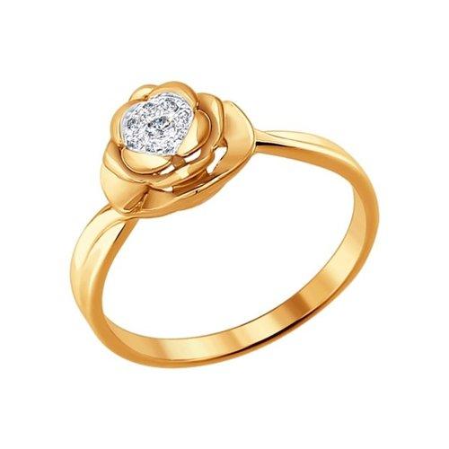 Кольцо в форме розы с бриллиантом