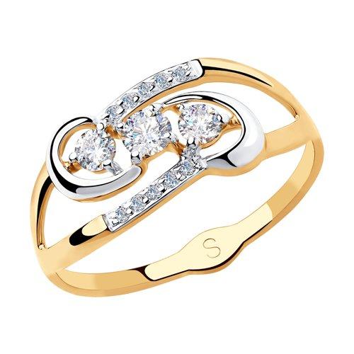 Кольцо из золота с фианитами (018139) - фото