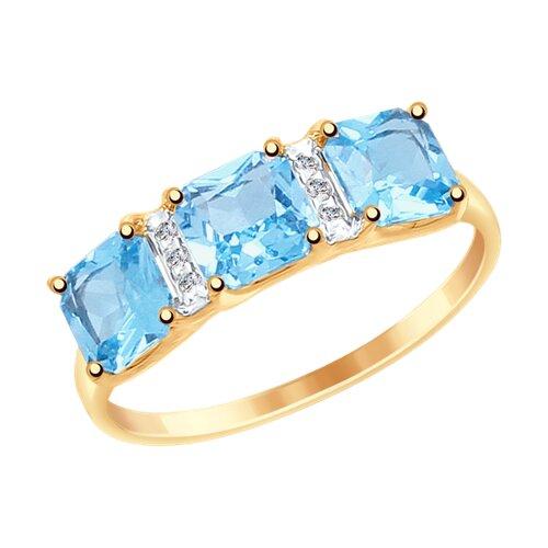 Кольцо из золота с топазами и фианитами (37715022) - фото