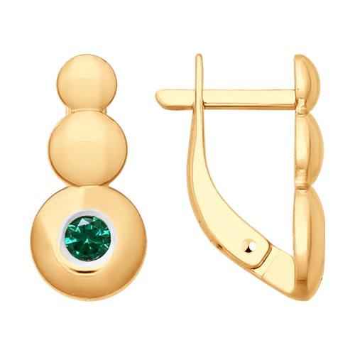 Серьги из золота с фианитами (027828) - фото