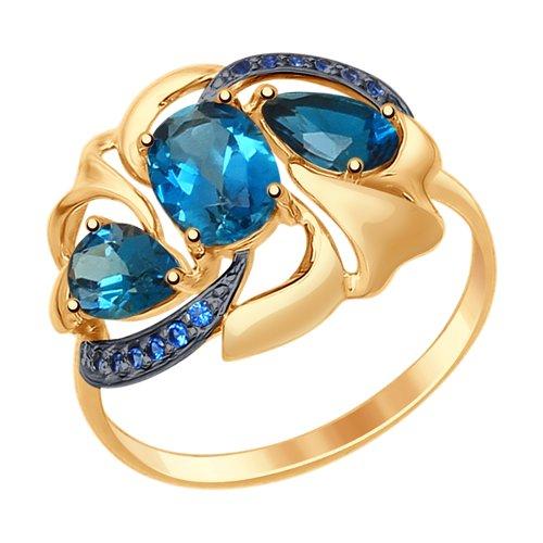 Кольцо из золота с синими топазами и фианитами (37714767) - фото