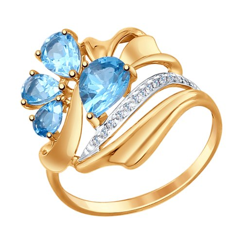 Кольцо из золота с топазами и фианитами (37714759) - фото