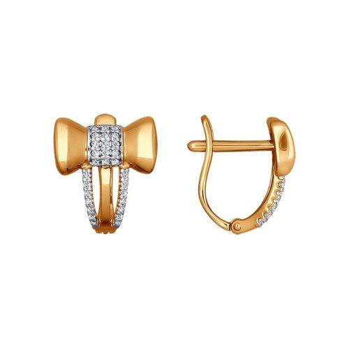 Золотые серьги с бантиками украшенные фианитами SOKOLOV яркие золотые серьги с бабочкой sokolov