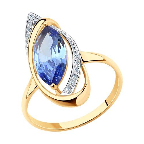 Кольцо из золота с ситаллом и фианитами (716013) - фото